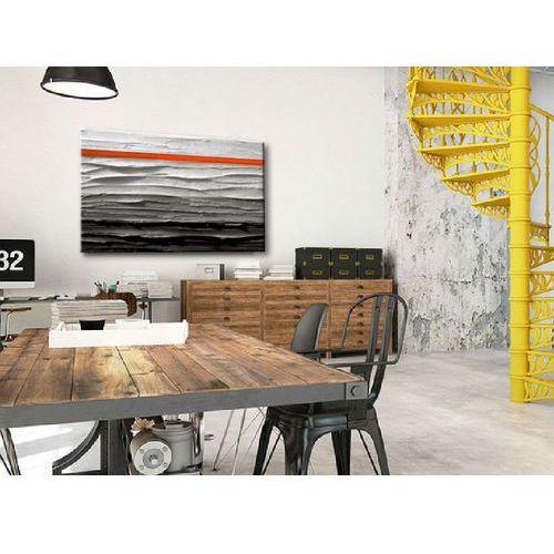 Obraz nowoczesny - szary z pomarańczowym paskiem