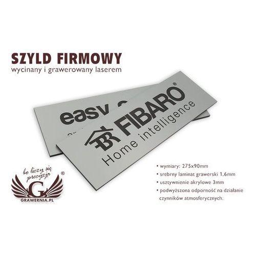 Szyld firmowy - srebrny laminat grawerski mat exterior - SZ080 - wym. 275x90mm