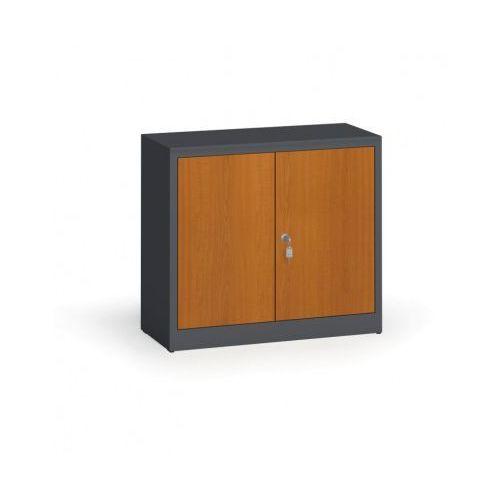 Szafy spawane z laminowanymi drzwiami, 800 x 920 x 400 mm, RAL 7016/czereśnia