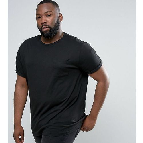 River island  plus crew neck t-shirt with roll sleeves in black - black