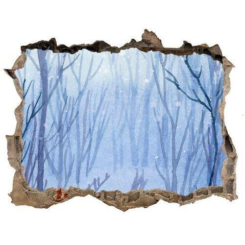 Dziura 3d w ścianie naklejka cegła Las zimą
