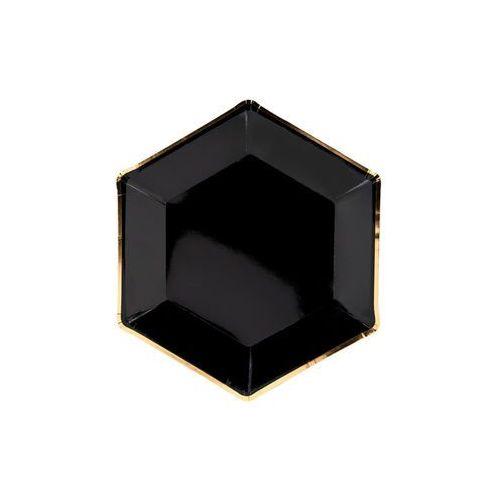 Party deco Talerzyki czarne ze złotym brzegiem - 23 cm - 6 szt.