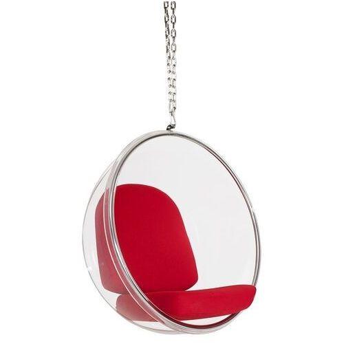 Fotel wiszący BUBBLE poduszka czerwona - korpus akryl, poduszka wełna, 5900168812321