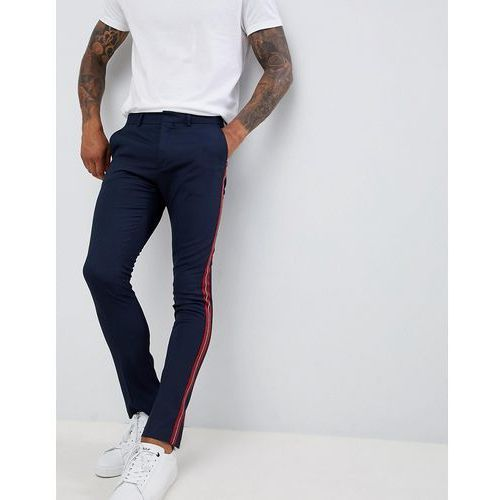 New Look skinny fit trousers with side stripe in navy - Navy, kolor szary