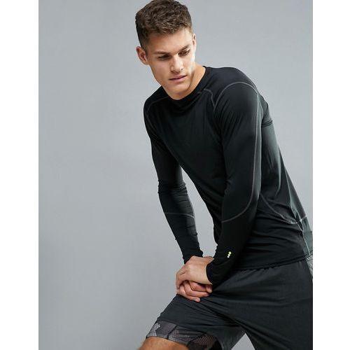 New look  sport stretch long sleeve top in black - black