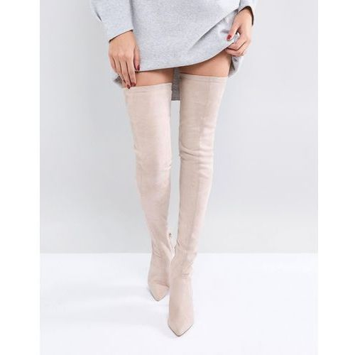 ASOS KENDRA Point Over The Knee Boots - Beige