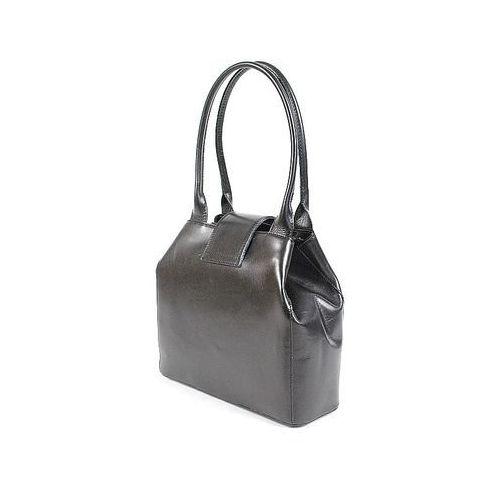 Vera pelle Skórzana włoska torebka kuferek czarna - czarna