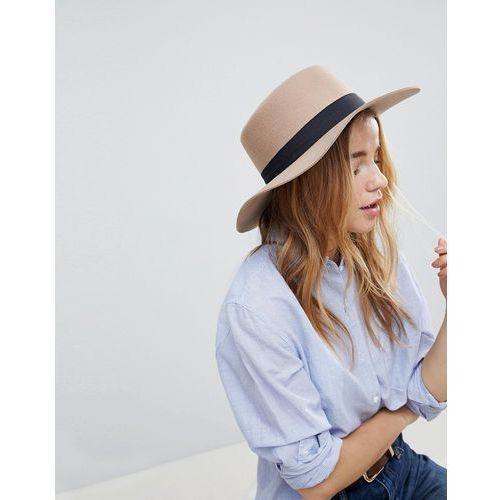 ASOS Felt Boater Hat in Light Camel with Size Adjuster - Brown, kolor brązowy