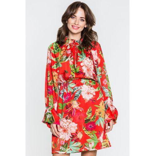 Czerwona sukienka w kwiaty - Tova
