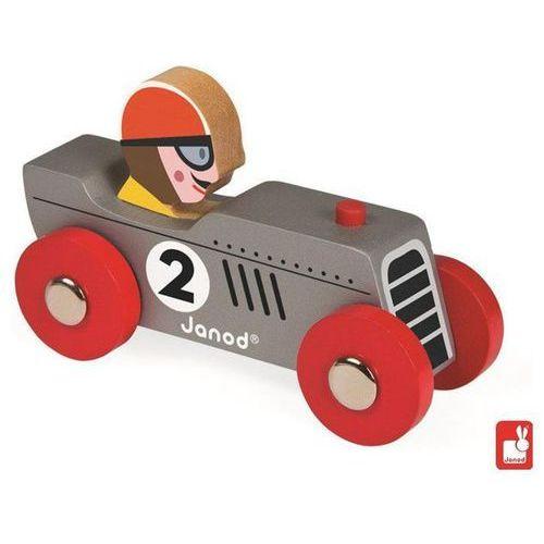 JANOD Wyścigówka drewniana Retromotor,szara - Wyścigówka drewniana Retromotor,szara