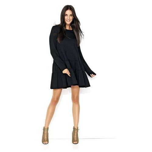 7b594e2cb2 Czarna dresowa sukienka z szerokimi falb.
