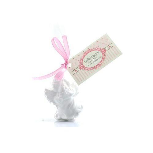 Aniołek gipsowy z różową kokardką - 1 szt. (5907509905483)