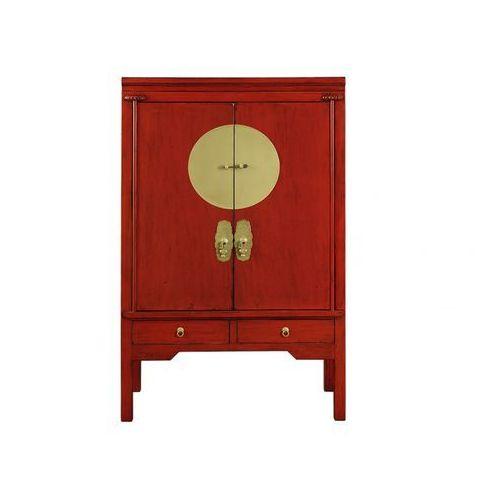 Vente-unique Szafa nantong - 2 drzwi i 2 szuflady - dł.105 cm - drewno wiązu - kolor: czerwony