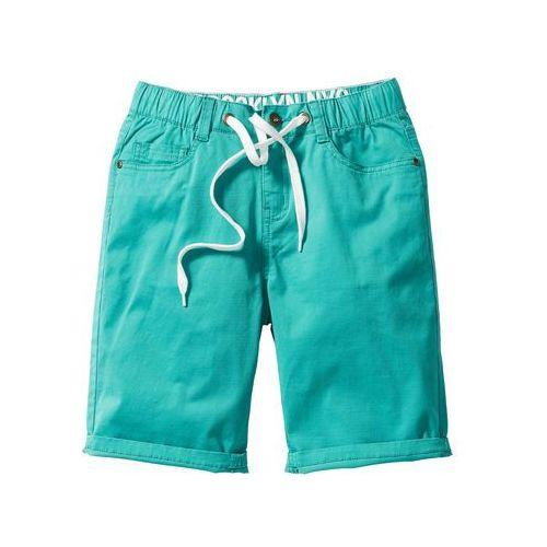 Luźniejsze bermudy z wywijanymi nogawkami bonprix zielony oceaniczny, kolor zielony