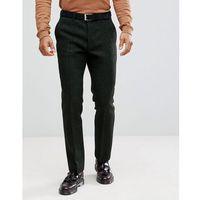ASOS Slim Suit Trousers in 100% Wool Harris Tweed In Green Herringbone - Green, wełna
