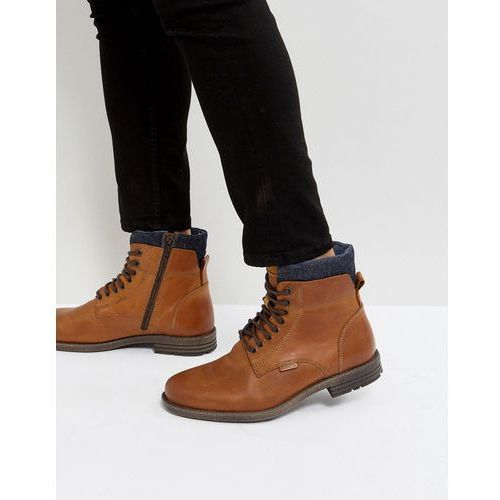emmerson leather boots with denim detail in brown - brown marki Levis
