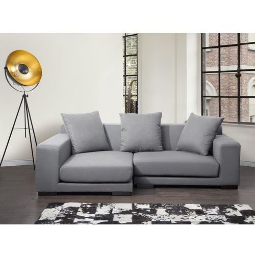 Sofa narożna p - tapicerowana - jasnoszara - cloud marki Beliani