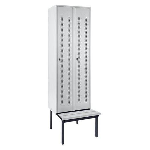 Szafka na ubrania z ławeczką u dołu, drzwi perforowane, szer. przedziału 300 mm,