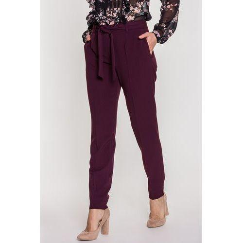 Materiałowe spodnie z wiązanym paskiem - SU, kolor fioletowy