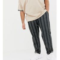 ASOS DESIGN plus skinny joggers in retro track fabric with all over stripes - Black, w 2 rozmiarach