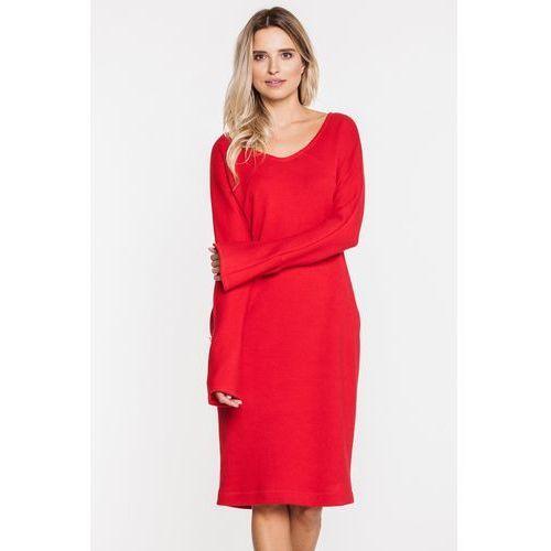 Czerwona sukienka wizytowa z dzianiny - SU, kolor czerwony