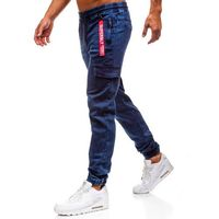 Spodnie jeansowe joggery męskie granatowe denley y268a, Red fireball