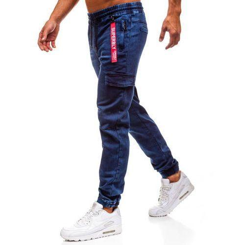 Spodnie jeansowe joggery męskie granatowe Denley Y268A, jeansy