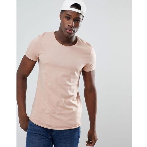 longline t-shirt with raw curved hem in dusty pink - pink, Esprit, XS-XXL