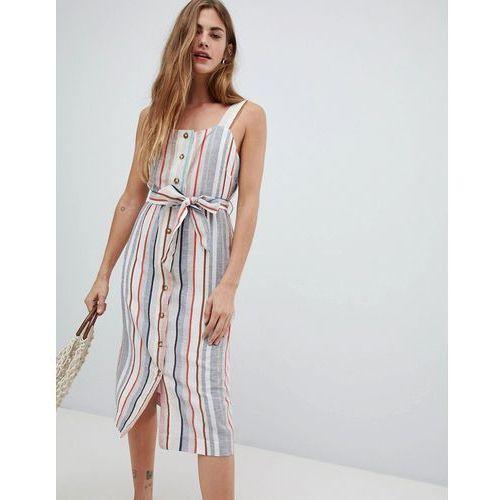 New look linen stripe button through dress - cream