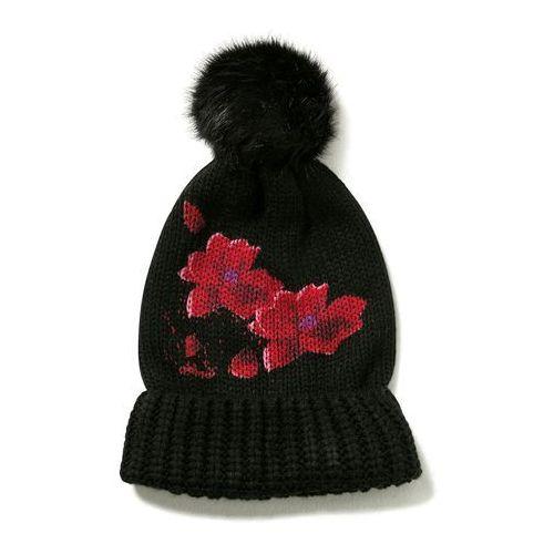 Desigual czapka damska czarny Red Flowers, kolor czarny