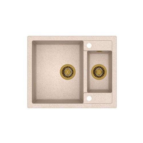 Zlew granitowy ze złotym syfonem morgan 150 - beżowy marki Quadron