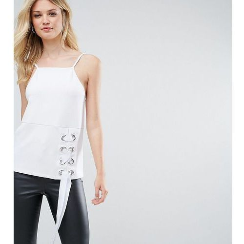 ASOS TALL Cami In Ponte With Square Neck and Eyelet Lace Up Detail - White, kolor biały