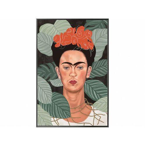 Obraz drukowany w ramie FRIDA – 60 × 90 × 2,5 cm (dł. × szer. × wys.) – kolor beżowy i zielony
