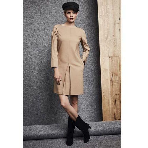 Beżowa sukienka wizytowa - Ennywear, 1 rozmiar