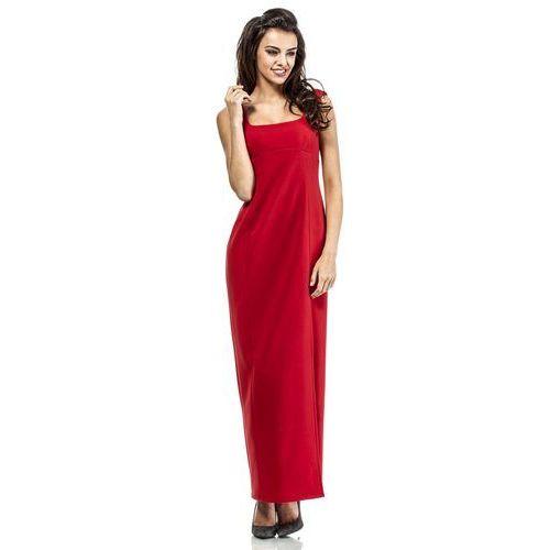 Czerwona elegancka suknia wieczorowa z rozporkiem na boku, Moe, 36-42