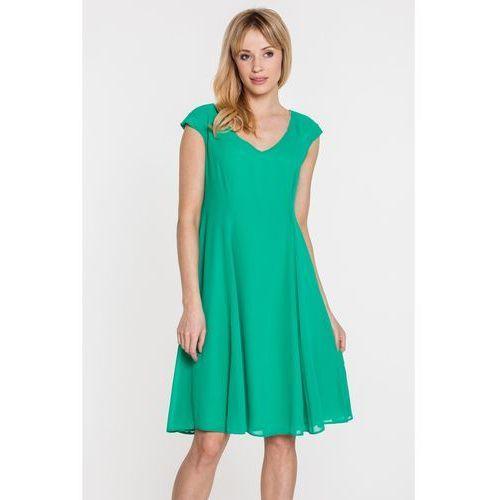 Zielona sukienka z szyfonowej tkaniny - Vito Vergelis, 1 rozmiar