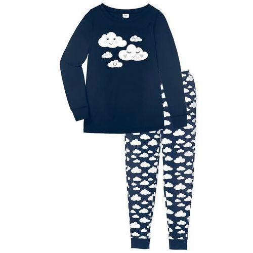 Piżama, bawełna organiczna bonprix ciemnoniebieski z nadrukiem