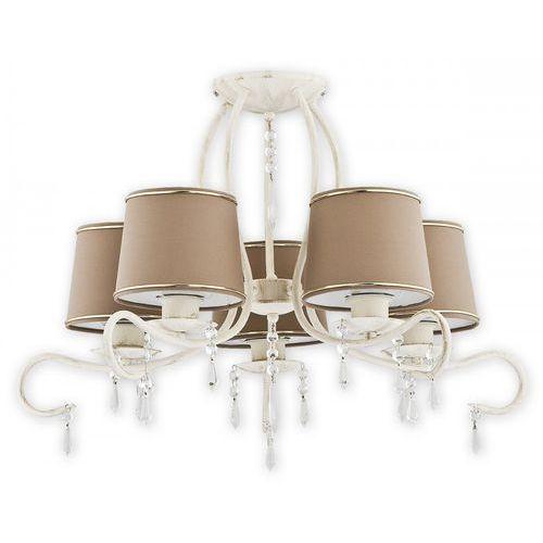 Lemir Barsa O2475 W5 AB plafon lampa sufitowa żyrandol 5x60W E27 antyczna biel / beżowy, O2475 W5 AB