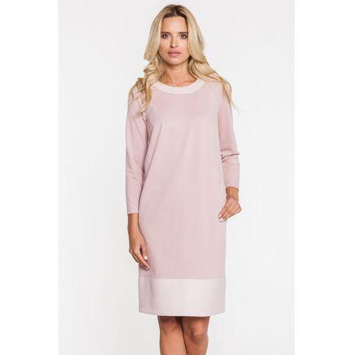 Różowa sukienka z szerokim przeszyciem na dole - Metafora, 1 rozmiar