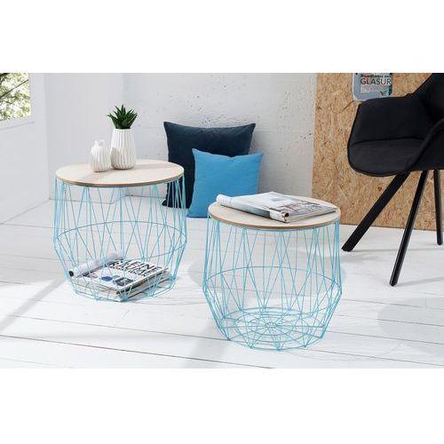 Stolik kawowy Cage niebieski - niebieski ||drewniany
