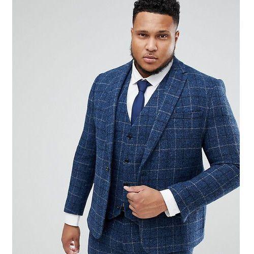 Asos plus slim suit jacket in 100% wool harris tweed in blue check - blue, Asos design