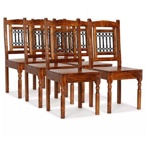 Krzesła z litego drewna stylizowanego na sheesham, 6 szt.