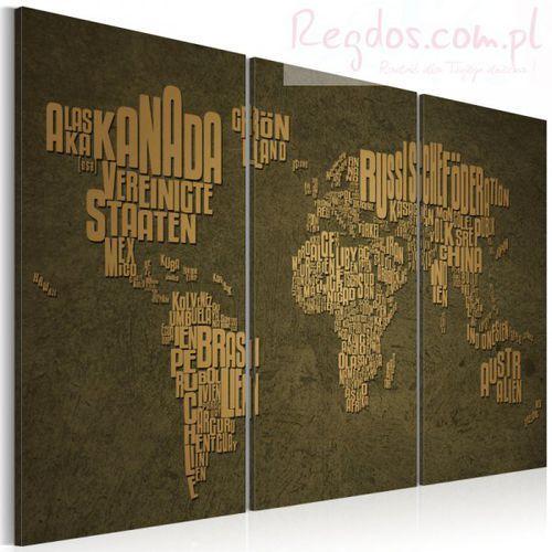 Obraz - Mapa świata, język niemiecki: beżowe kontynenty - tryptyk