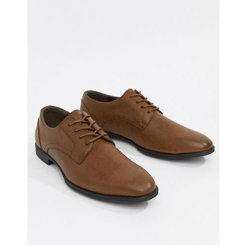 New look faux leather derby shoes in tan - brown