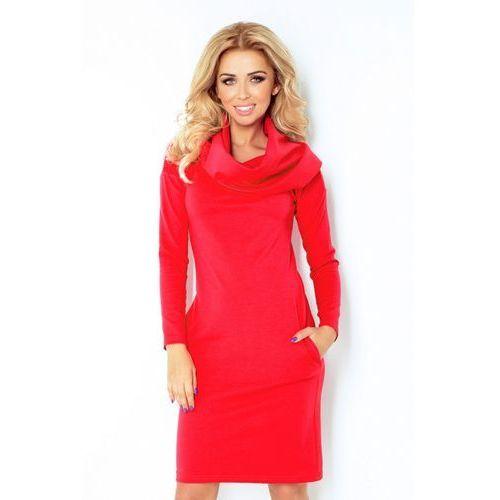 131-4 Sukienka z GOLFEM - grube punto - CZERWONA XXXL, 1 rozmiar
