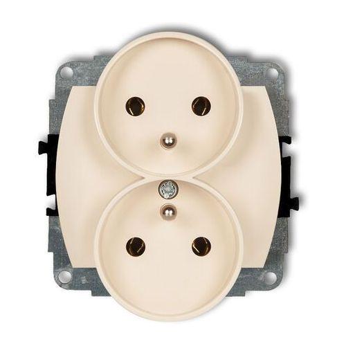 Trend 1gpr-2z mechanizm gniazda podwójnego do ramki zu 2x2p+z beżowy marki Karlik