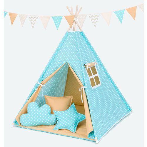 Mamo-tato namiot tipi z matą i poduszkami groszki turkus / miodowy