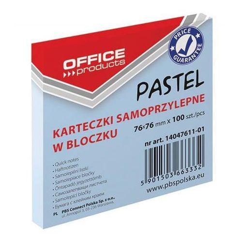Bloczek samoprzylepny OFFICE PRODUCTS, 76x76mm, 1x100 kart., pastel, niebieski, 14047611-01