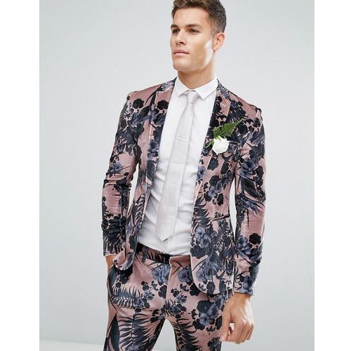 wedding super skinny suit jacket in dusky pink floral printed velvet - pink, Asos