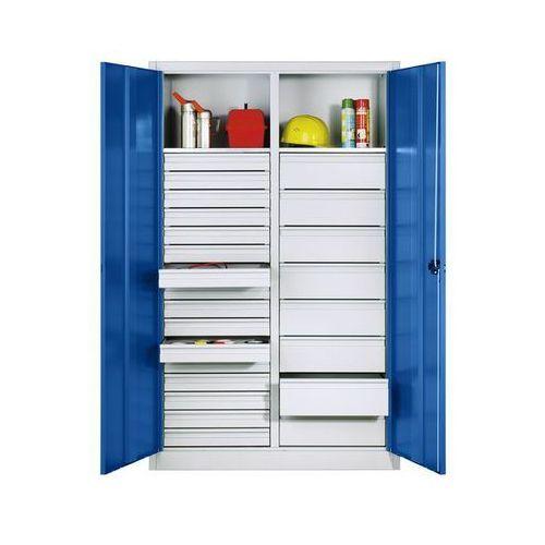 Szafka na materiały z blachy stalowej,2 szuflady, 24 półki